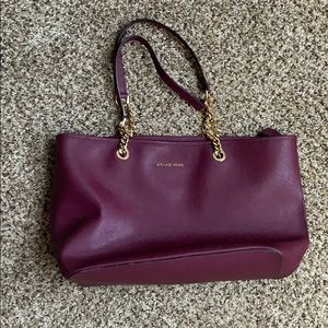 Micheal kors maroon and gold purse